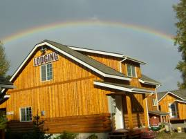 Rainbow behind Denali Fireside office.